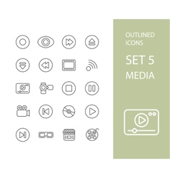 Outline icons thin flat design modern line stroke vector