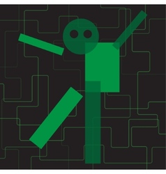 Abstract green geometric stylized character vector