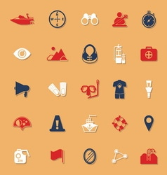 Waterway related classic color icons with shadow vector