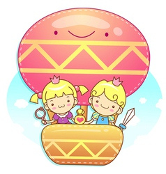 The fun a balloon prince and princess mascot vector
