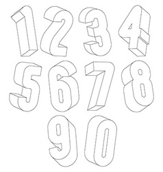 3d black and white numbers made with lines vector