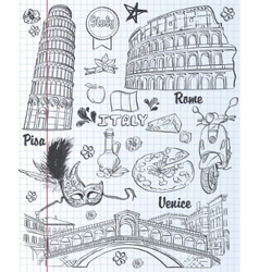 A set of sights in italy architecture food vector