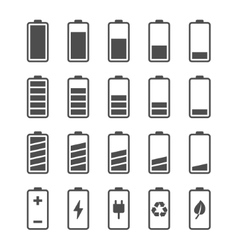 Battery icon set with charge level indicators vector