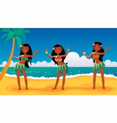 Hawaiian dancing girls vector