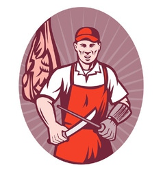 Butcher sharpening knife retro style vector