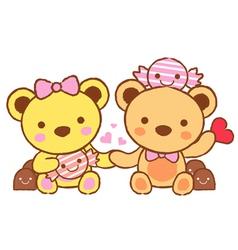 Cute teddy bear mascot and chocolate vector