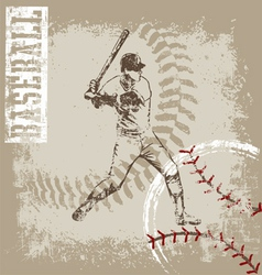 Batter base ball crack vector