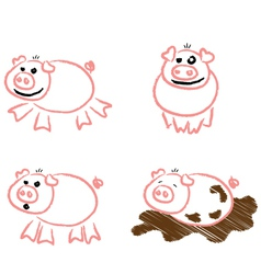 Piggy scribbles vector