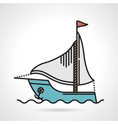 Sailing yacht flat icon vector