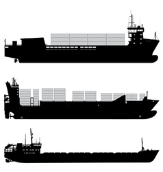 Cargo and container ship silhouettes vector