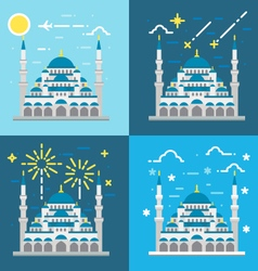 Flat design of blue mosque istanbul turkey vector