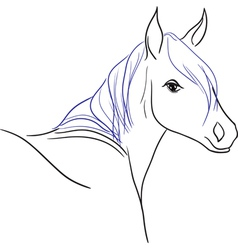 Horse with blue mane vector