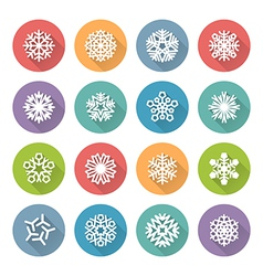 Set of simple round snowflakes icons vector