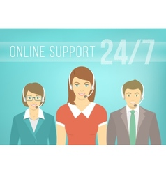 Call centre support team with headphones vector