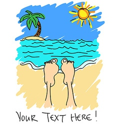 Feet on the beach vector