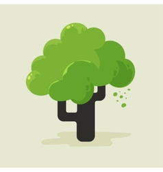 A flat tree with green foliage vector