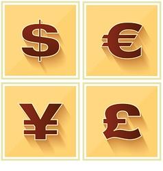 World currency symbols flat icon retro vector