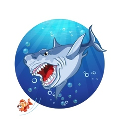 A shark chase the little fish vector