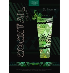 Disco cocktail poster with triangle background vector