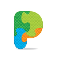 Letter p written with alphabet puzzle vector