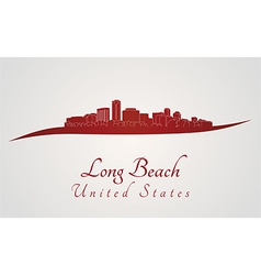 Long beach skyline in red vector