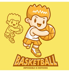 Basketball exercise in boys mascot vector