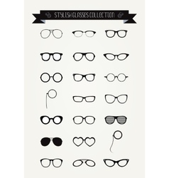 Hipster retro vintage glasses icon set vector