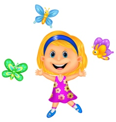 Happy little girl with colorful butterfly vector