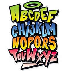 Funky colorful cartoon font type alphabet vector