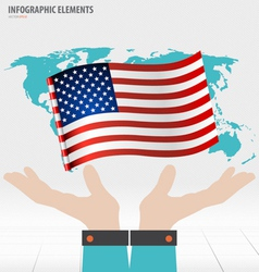 Business hand showing american flag vector