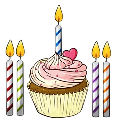 Cupcake and candles vector