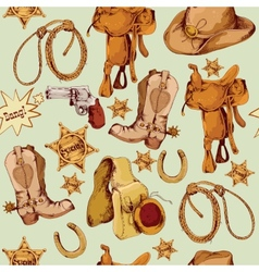 Wild west seamless pattern colored vector