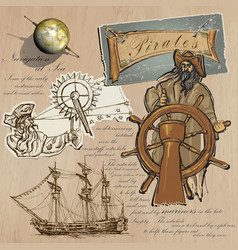 Pirates - navigation at sea hand drawn and mixed vector