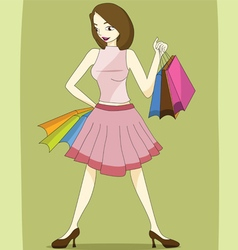 Lady with shopping bag vector