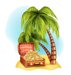 Open suitcase with coins on the beach vector