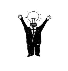 Lamp head businessman vector
