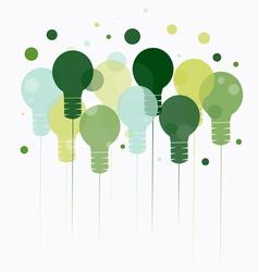 Idea concept of hanging green light bulbs vector