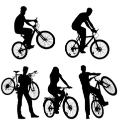 Lots of people bicycles set vector
