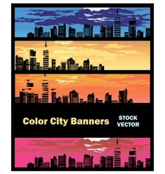 Color city banner vector