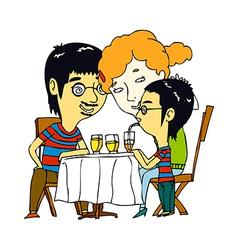 A family are having dinner vector