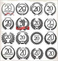 20 years anniversary laurel wreaths vector