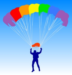 Skydiver silhouettes a rainbow parachuting vector