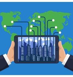 Futuristic city in modern device phone vector