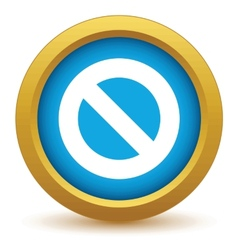 Gold sign ban icon vector