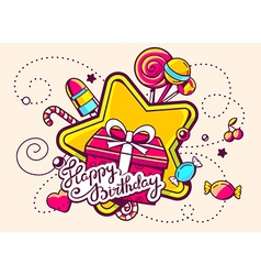 Gift box and confection with text happy b vector