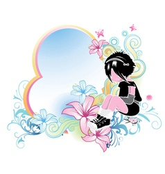 Floral frame with emo kid vector
