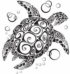 Turtle a silhouette vector