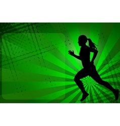 Runner silhouette on the abstract background vector