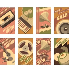 Musical retro cards vector