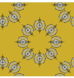 Folk inspired wallpaper with flower shapes gold vector
